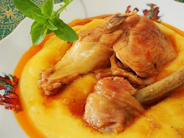 como fazer polenta com frango